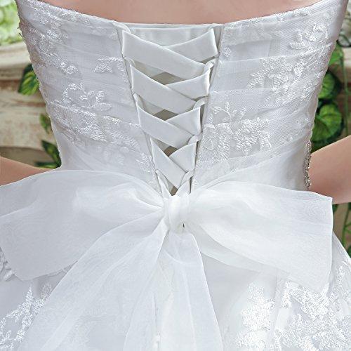 KekeHouse® Herzausschnitt Bandeau Geblümt Spitze mit Kristall Hochzeitskleid Bodenlang A-Linie Elegant Schmuck Hochzeitskleid Weiß 40 - 6