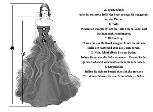 KekeHouse® Herzausschnitt Bandeau Geblümt Spitze mit Kristall Hochzeitskleid Bodenlang A-Linie Elegant Schmuck Hochzeitskleid Weiß 40 - 8
