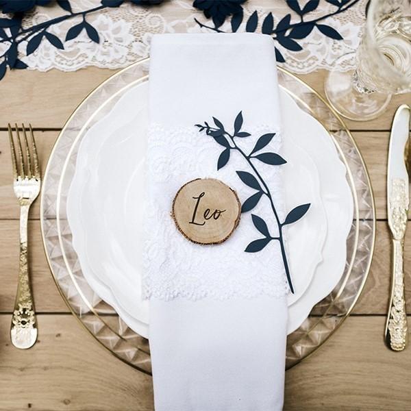 """Tisch Dekoration """"Zweige mit Blättern"""" - marineblau"""