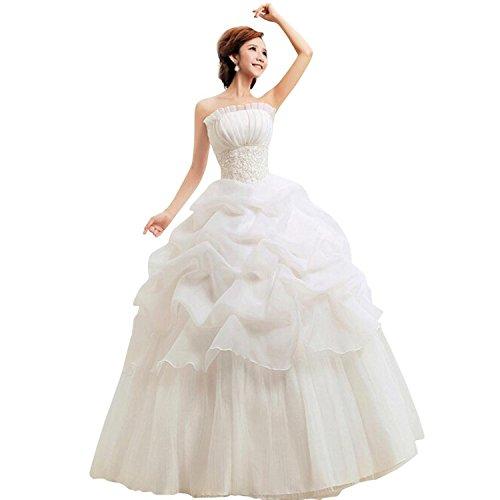 LATH.PIN Damen Chiffon Prinzessin Hochzeitskleid (asiatische XXL, Weiß)