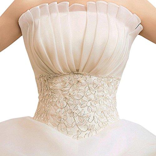 LATH.PIN Damen Chiffon Abschlussball Prinzessin Hochzeitskleider Abendkleider Brautkleider (asiatische XXL, Weisse) - 4