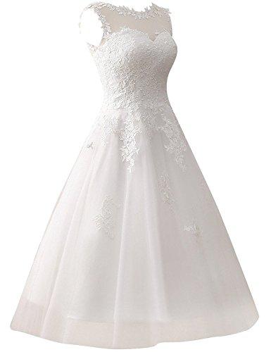 JAEDEN Damen Tüll Hochzeitskleider Wadenlang Spitze Rundkragen Formales Brautkleid Elfenbein EUR36 - 3