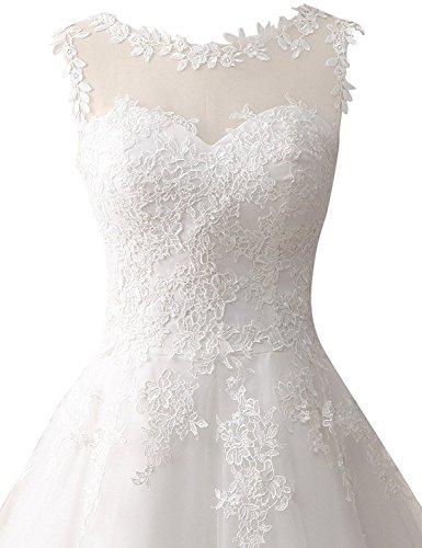 JAEDEN Damen Tüll Hochzeitskleider Wadenlang Spitze Rundkragen Formales Brautkleid Elfenbein EUR36 - 4