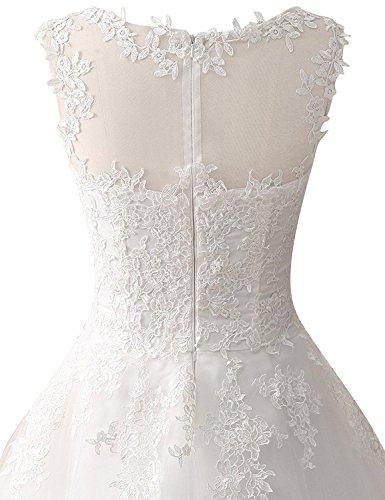 JAEDEN Damen Tüll Hochzeitskleider Wadenlang Spitze Rundkragen Formales Brautkleid Elfenbein EUR36 - 5