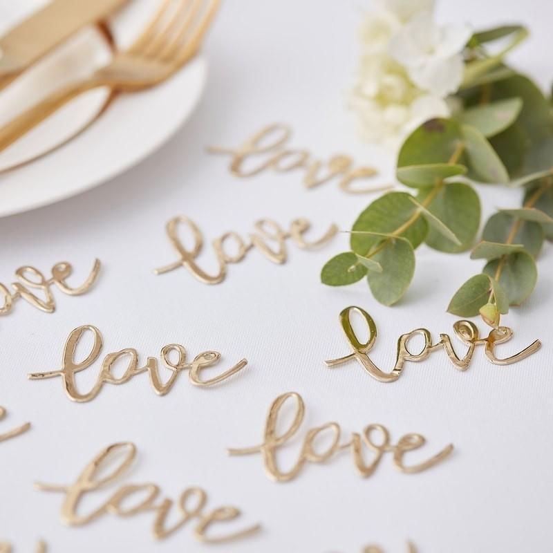 Tisch Konfetti Love gold