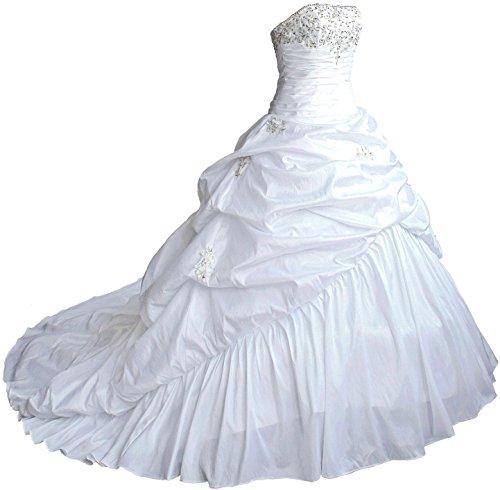 Faironly M045 Taft Hochzeitskleid (XXL, Elfenbein)