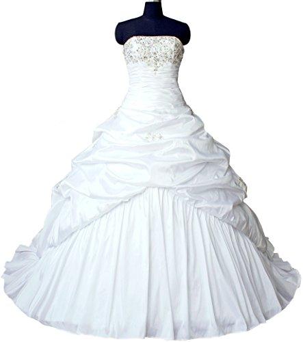 Faironly M045 Liebsten Taft Hochzeitskleid Brautkleider (XXL, Elfenbein) - 3