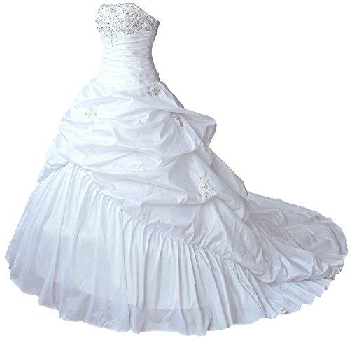 Faironly M045 Liebsten Taft Hochzeitskleid Brautkleider (XXL, Elfenbein) - 4