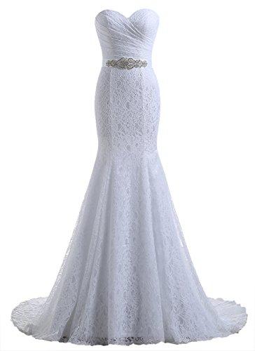 Beautyprom Frauen-Spitze-Nixe-Brautkleider (42, Weiß)