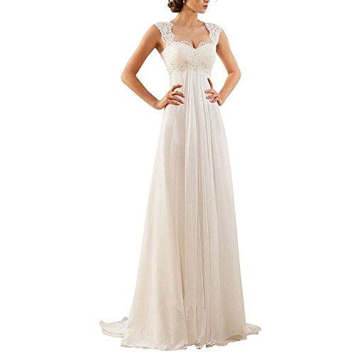 Aiyana A-Linie  Langes Chiffon Kleid, rückenfrei, Schnürung (40, Elfenbein)
