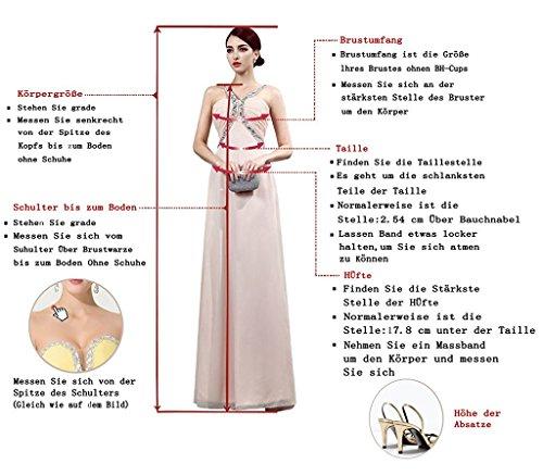 Aiyana A-Linie Chiffon Langes Rueckenfrei Kleid Rueckenfrei Schnuerung Abendkleid Spitze Brautkleid (40, Elfenbein) - 3
