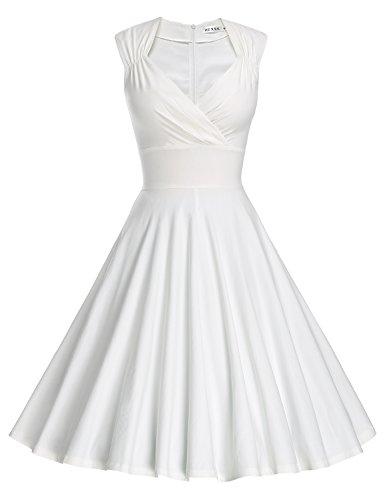 MUXXN Damen Retro 1950er V-Ausschnitt Brautjungferkleid