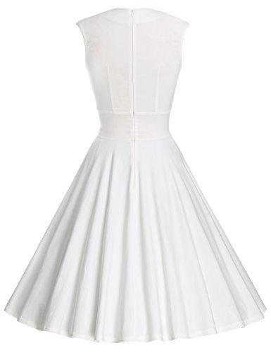 MUXXN Damen Retro 1950er V-Ausschnitt Brautjungfer Party Swing Kleid(2XL, White) - 2