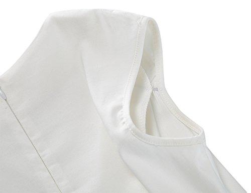 MUXXN Damen Retro 1950er V-Ausschnitt Brautjungfer Party Swing Kleid(2XL, White) - 4