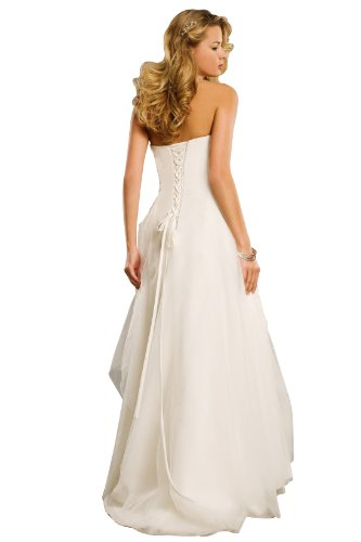 WEDDING HOUSE A-linie BRAUTKLEID Hochzeitskleid Organza Trägerlos mit Deckleisten und Applikationen (40, Elfenbein) - 2