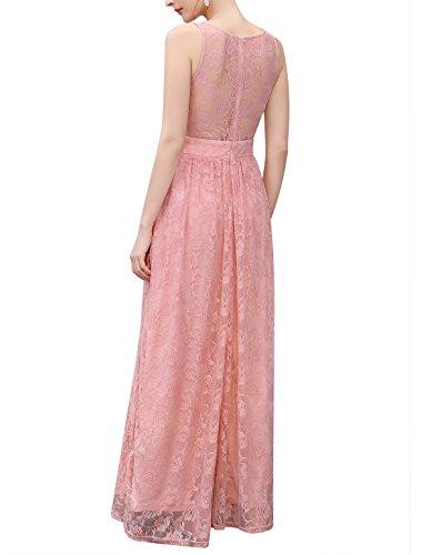 Wedtrend Frauen Spitzen lange Brautjungfer Kleid Party Kleid Cocktailkleid WTL10007 Ivory L - 3