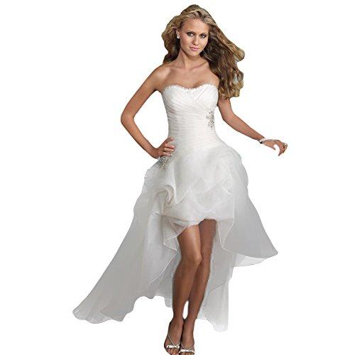 WeWind Hochzeitskleid Trägerlos Organza Brautkleid mit Schleppe Kurz (S)