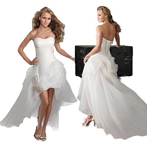 WeWind Damen Süßes Hochzeitskleid Trägerlos Organza Brautkleid Schleppe Kurz (S) - 2