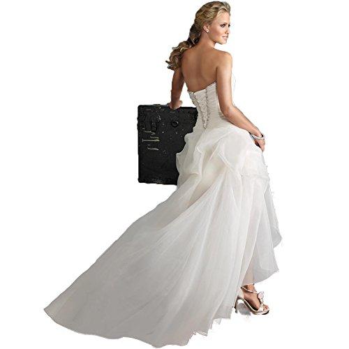 WeWind Damen Süßes Hochzeitskleid Trägerlos Organza Brautkleid Schleppe Kurz (S) - 3