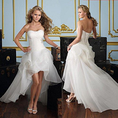 WeWind Damen Süßes Hochzeitskleid Trägerlos Organza Brautkleid Schleppe Kurz (S) - 5