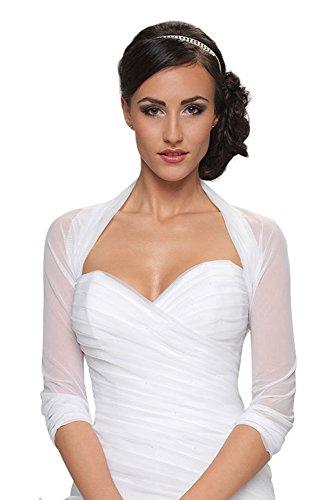 Damen Braut Bolero Chiffon / Stretch - B70 (S/M, weiß)
