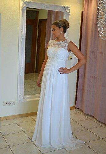 Brautkleid TRAUM Hochzeitskleid A-Linie Umstandskleid Weiß Ivory Größe 34 bis 52 (44, Ivory) - 2