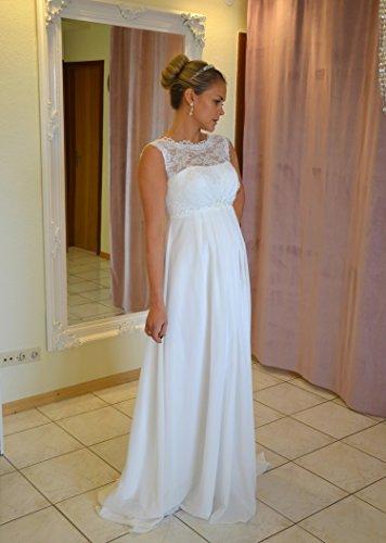 Brautkleid TRAUM Hochzeitskleid A-Linie Umstandskleid Weiß Ivory Größe 34 bis 52 (44, Ivory) - 3