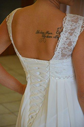 Brautkleid TRAUM Hochzeitskleid A-Linie Umstandskleid Weiß Ivory Größe 34 bis 52 (44, Ivory) - 5