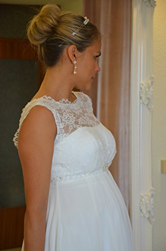 Brautkleid TRAUM Hochzeitskleid A-Linie Umstandskleid Weiß Ivory Größe 34 bis 52 (44, Ivory) - 8