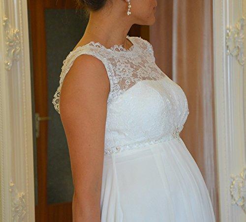 Brautkleid TRAUM Hochzeitskleid A-Linie Umstandskleid Weiß Ivory Größe 34 bis 52 (44, Ivory) - 9