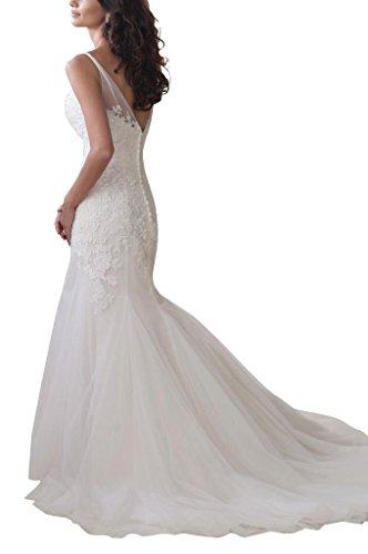 GEORGE BRIDE Reizvolle Organza Neckholder Schultergurt Brautkleider Hochzeitskleider, Groesse 40, Elfenbein - 2