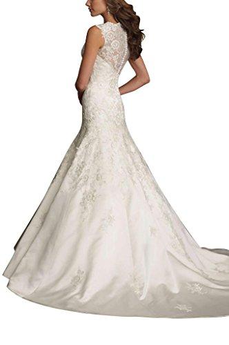 GEORGE BRIDE Luxury Neckholder Meerjungfrau Tuell Spitze Lang Brautkleider Hochzeitskleider, Groesse 40, Weiss - 2