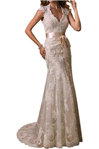 Victory Bridal Neckholder Kurzarm Hochzeitskleid mit Gürtel