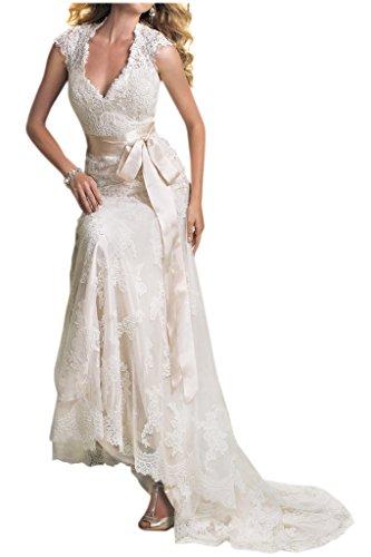 Victory Bridal Edel Neckholder Kurzarm spitze Hochzeitskleider Brautkleider Brautmode Guertel Lang-44 Elfenbein - 2