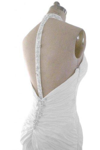 Gorgeous Bride Sexy Neckholder Lang Prinzessin Taft Rueckenfrei Brautkleider Hochzeitskleider -58 Weiss - 3