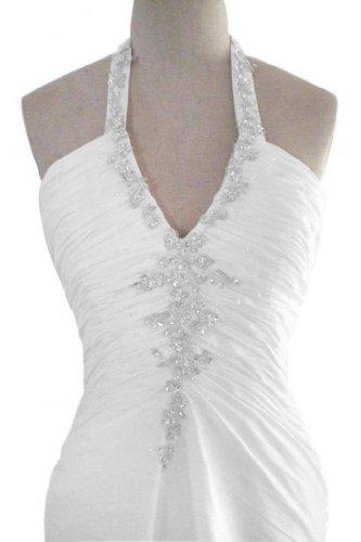 Gorgeous Bride Sexy Neckholder Lang Prinzessin Taft Rueckenfrei Brautkleider Hochzeitskleider -58 Weiss - 4