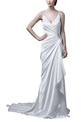 GEORGE BRIDE Brautkleid aus Satin mit Schleppe, Elfenbein