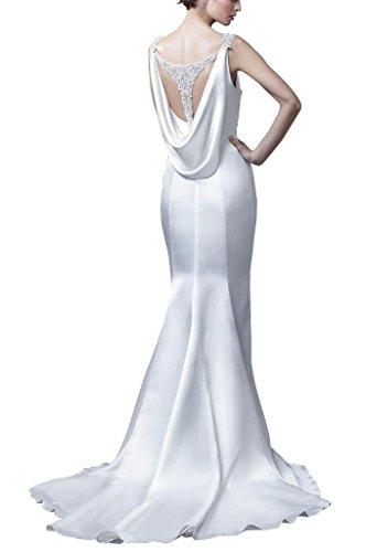 GEORGE BRIDE Einfache Linien Schlepp dick Satin Neckholder Brautkleider Hochzeitskleider, Groesse 40, Elfenbein - 2