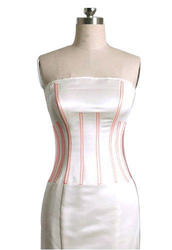GEORGE BRIDE Einfache Linien Schlepp dick Satin Neckholder Brautkleider Hochzeitskleider, Groesse 40, Elfenbein - 3