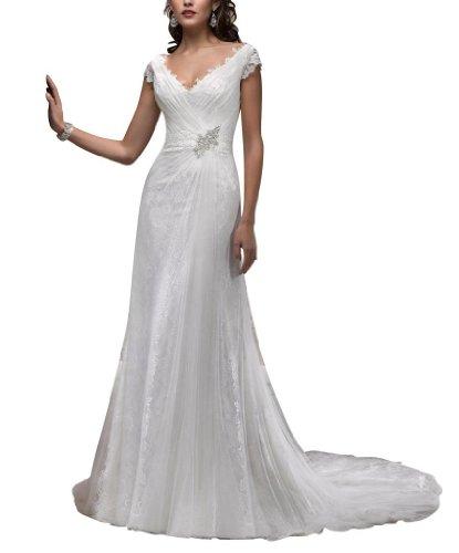 GEORGE BRIDE elegantes Brautkleid mit V-Ausschnitt und Kapellen-Schleppe, Weiss