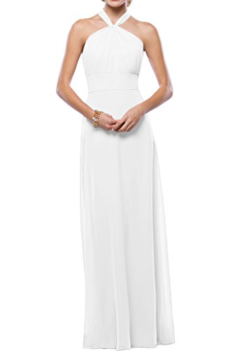 Gorgeous Bride Schlichtes Neckholder Brautkleid, Weiss