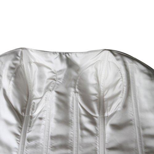 GEORGE BRIDE Sexy Neckholder Perlen Applikationen Teil mit Gaze shawl Brautkleider Hochzeitskleider, Groesse 44, Weiss - 4