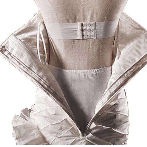 GEORGE BRIDE Sexy Neckholder Perlen Applikationen Teil mit Gaze shawl Brautkleider Hochzeitskleider, Groesse 44, Weiss - 5