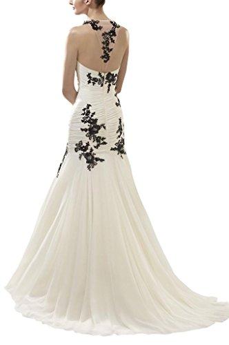 GEORGE BRIDE Sexy schwarzen applique Neckholder Brautkleider Hochzeitskleider, Groesse 38, Elfenbein - 2