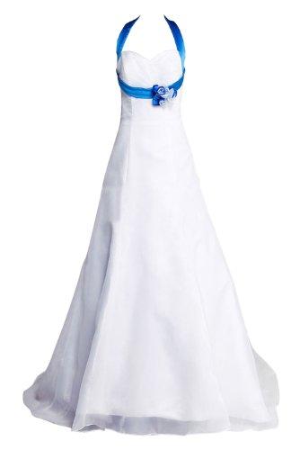 Gorgeous Bride Elegantes Neckholder Brautkleid mit blauen Satin Blumen