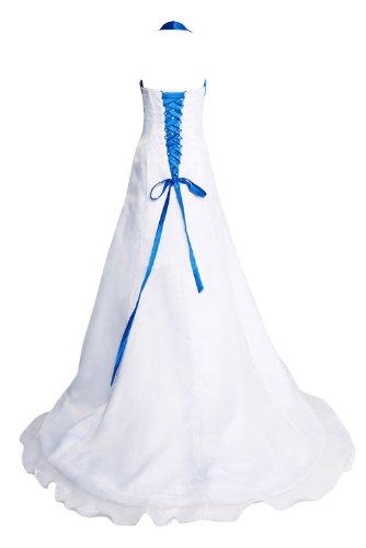 Gorgeous Bride Elegant Neckholder A-Linie Organza Satin Blumen Brautkleid Hochzeitkleid-58 Weiss - 2