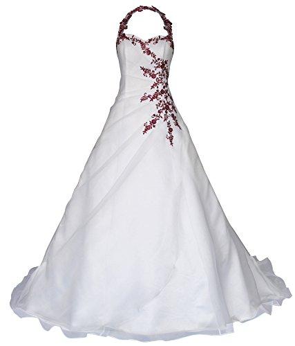 Romantic-Fashion Hochzeitskleid mit Pailletten und bordeauxroter Stickerei