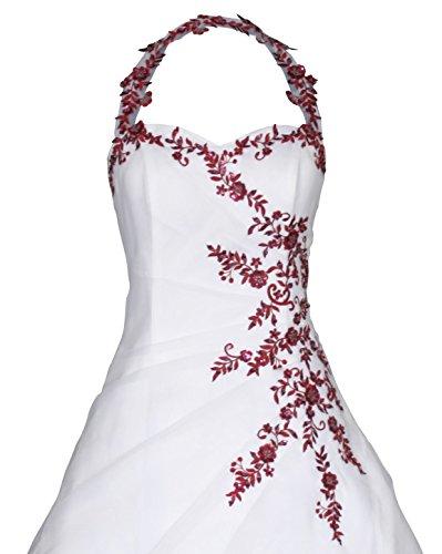 Romantic-Fashion Brautkleid Hochzeitskleid Neckholder Weiß Modell W021 A-Linie Satin Perlen Pailletten bordeauxrote Stickerei DE Größe 50 - 3