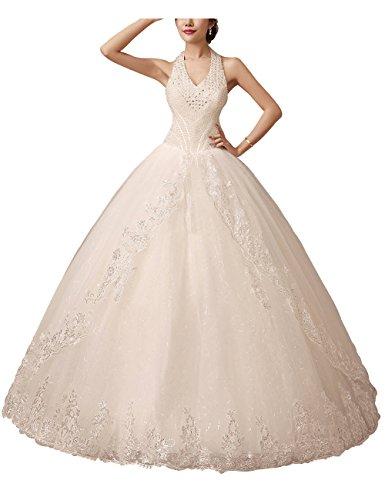 Brautkleid mit Strass und Perlen, Neckholder