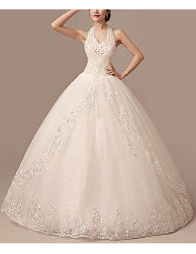 Lactraum HS1043 Brautkleid Hochzeitskleid Strassstein Spitze Perlen Neckholder (Maßanfertigung) - 2